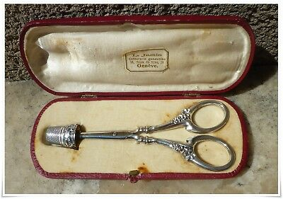 Antique Sterling Silver Art Nouveau Sewing Set Scissors & Thimble & case