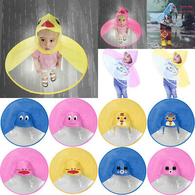 Au Cute Cartoon Duck Children Raincoat Umbrella Ufo Shape Rain Hat Cape Foldable