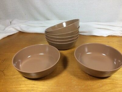 "Lot 7 Vintage Texas Ware C-2  Small 5.25"" Brown Melamine Bowls"