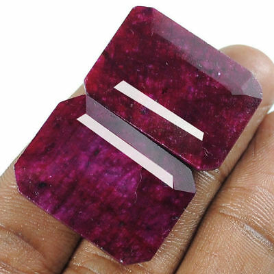 85 Carat+ Natural Red Ruby Octagon Emerald Cut Matched Pair Gems For Ear-rings