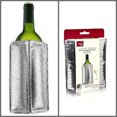 Vacu Vin Rapid Ice Wine Champagne Cooler Chiller Silver Jacket Sleeve Flexible