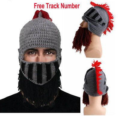 15d0c3605b5 Cosplay Roman Knight Helmet Knit Mens Caps Beard hats Ski Funny Winter  Beanies
