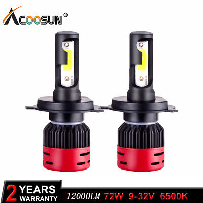 2pcs COB H4 8000LM 72W LED Car Headlight Kit Hi/Lo Turbo Light Bulbs 6000K