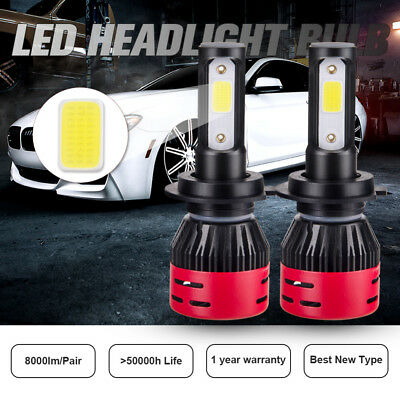 H4 9003 COB LED Car Headlight 6000K 8000LM Bulb Lamp for Hi/ Lo Beam Power 1PCS