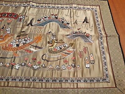 Vintage Chinese Silk Embroidery Panel Oriental Textile Art Wall Hanging