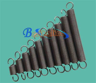 Wire Dia 1.0mm OD 6mm Length 300mm Dual Hook Tension Spring 5Pcs