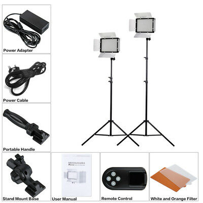 Craphy 608 LED Daylight Photo Studio Video Film Light Panel Stand Kits W/Remote