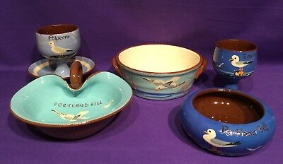 Torquay Devon Ware Pottery Watcombe Collection of 5 Pieces Seagull Portland Bill