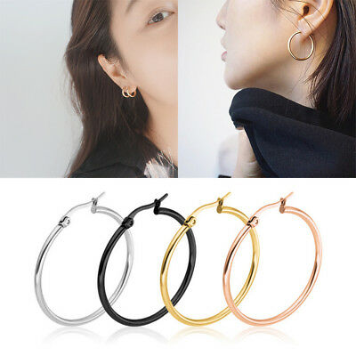 3 Pairs Stainless Steel Hoop Earrings Set Women Fashion Jewelry 15mm 20mm 25mm