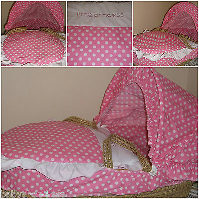 Moses Basket Dressing Covers Pink White Polka Cotton Blend New Free P&p