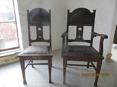 Antique Dining Chairs - Oak - Tall back - Set of 6 - 2 Carvers - For Restoration