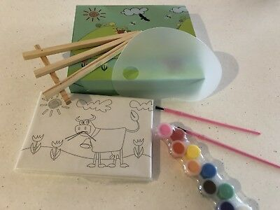 Kids Paint Set Includes Easel, Paint, 3 X Canvas, Brushes. Collect Or Post
