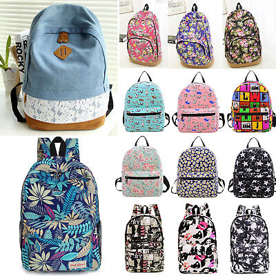 Womens Girls Canvas Backpack Shoulder School Bag Satchel Travel Floral Rucksack