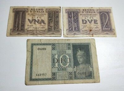 Italy 3 old WWII era paper banknotes 1 Lira, 2 & 10 Lire 1935 - 1939