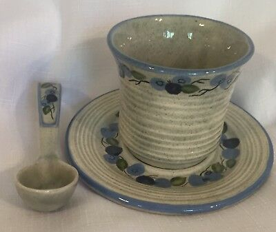 Maine Art Pottery Studio Set Jam Cup, Saucer, Spoon Hand Painted Blueberries NEW