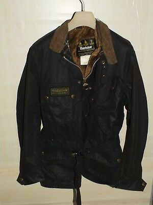 barbour international jacket waxed cotton + inner pile  100%authentic c40/102  m