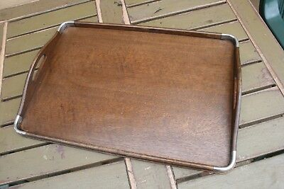 Art Deco Oak And Chrome Serving Tray