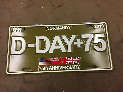 WWII D Day commemorative License Plate 75th Anniversary