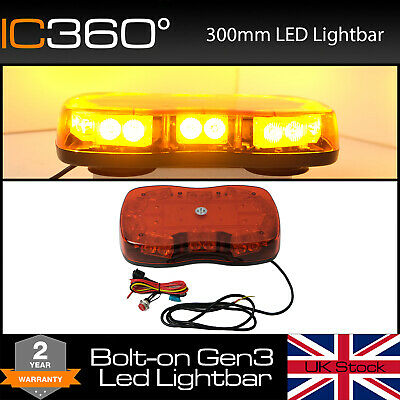 IC360 Mini LED Bolt on Lightbar Flashing Recovery Strobe Light Amber Beacon