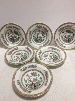 "Vintage Lord Nelson Ware Indian Tree Pattern - Six 6.5"" Rimmed Bowls"