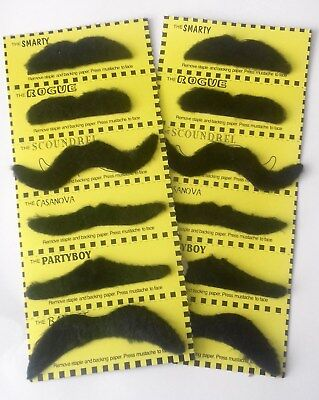 12 fancy dress MOUSTACHES Stick on Fake Tash Moustache False Mexican Movember