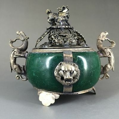 Collectible Decorated antique Jade& Tibet Silver Incense Burner b01