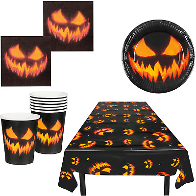 Halloween Creepy Pumpkin Party Tableware Tablecover Plates Napkins Cups