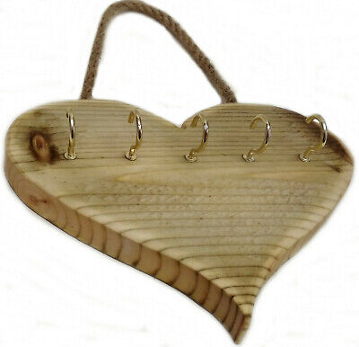 LOVE HEART - Key Holder Storage Hooks Wall Mounted Wood Rack Hanger Rustic
