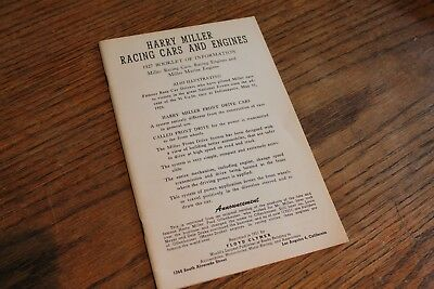 Harry Miller, Racing Cars and Engines, 1927, Clymer reprint
