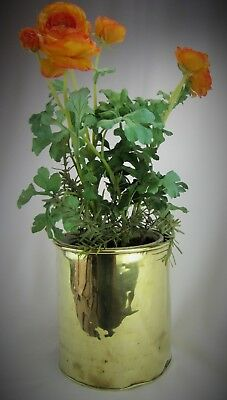 Large Antique Victorian Solid Brass Cachepot Canister Planter Pot Jardiniere