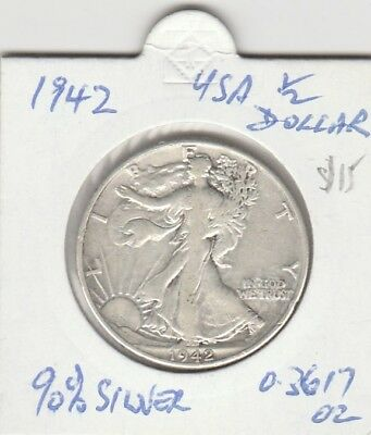 Old 1942 Half Dollar. Scarce Coin. Silver. Free Post