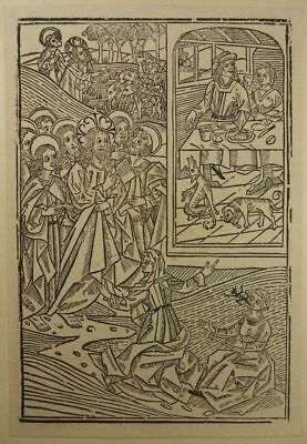 Incunable Woodcut Biblia Pauperum 1460 Woman Of Cana Demon Obsession