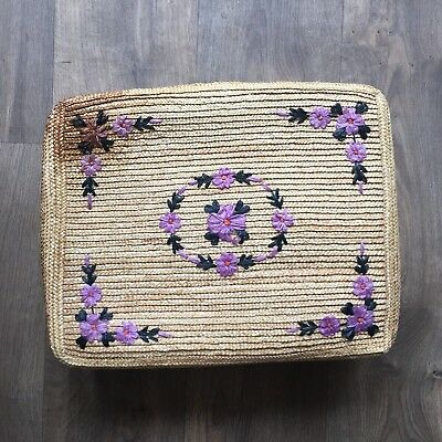Vintage Straw Embroidered Suitcase 1970s Boho