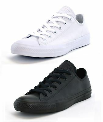 Converse Mens Chuck Taylor OX Leather Plimsolls Low Top Trainers Black White
