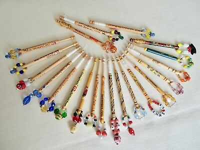 Twenty-One Various Turned Hard Wood Craft And Lace Day Lace Maker's Bobbins