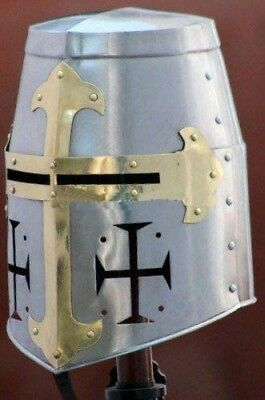 Knights Templar Crusader Helmet Medieval Armor barbute roman with stand