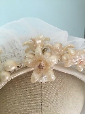 Vintage Antique Bridal Veil With Blusher Wax Orange Blossom Flowers