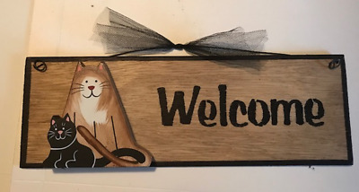 WELCOME cat kitten lover country primitive cats wooden wall decor wood sign 4x12