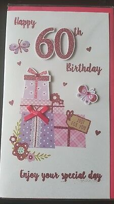60th Pink Luxury Very Large Embossed 3D Boy Girl Male Female Birthday Card