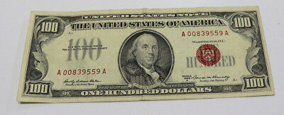 1966 $100 One-Hundred Dollar Bill United States Legal Tender Red Seal Note