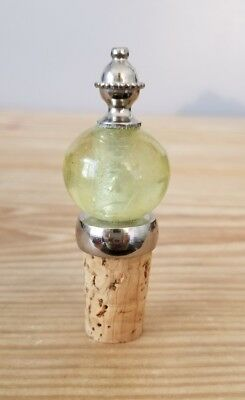Vintage Cork Wine Decantur Bottle Stopper w/ Green Round Glass & Metal accent!