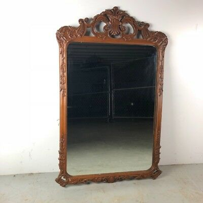 Antique Rococo Hand Carved Solid Wood Wall Mirror Ornate Hollywood Regency