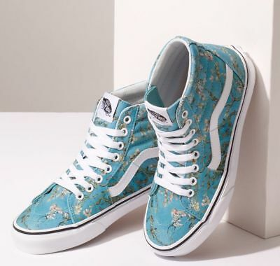 NIB Vans Limited VAN GOGH ALMOND BLOSSOM SK8-HI in Teal & White Sizes 7.5 & 8
