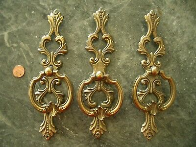 3 Lg Antique Vtg Brass French Provincial Drawer Cabinet Pulls Handles Backplates