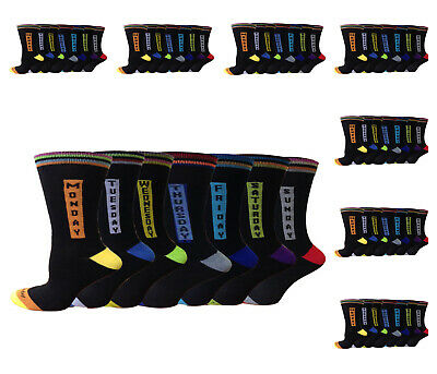 Men's 7 Pair Novelty 7 Days of the week cotton rich Every Day socks UK Size 6-11
