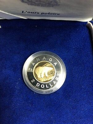 1996 CANADA $2 COIN 2 DOLLAR Bi Metallic GOLD PROOF POLAR BEAR