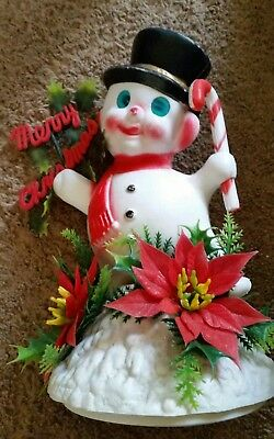 Vintage Plastic Christmas Snowman 10 Inches Tall