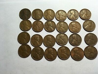 Huge mixed lot of 24 different antique copper coins Lincoln Wheat cents 1900's