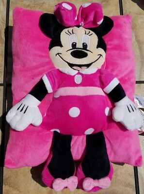 MINNIE MOUSE Pink STUFFED ANIMAL Disney PILLOW 15 inches x 11 inches