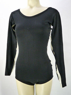 Vintage 70s Leotard Bodysuit (M) Black White Side Stripes Gauze Long Sleeves Gym